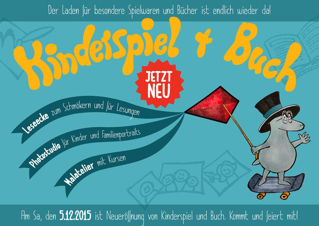 Kinderspiel + Buch - Flyer Vorderseite